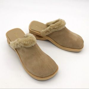 New! Skechers Fur and Leather Mule Wooden Clogs